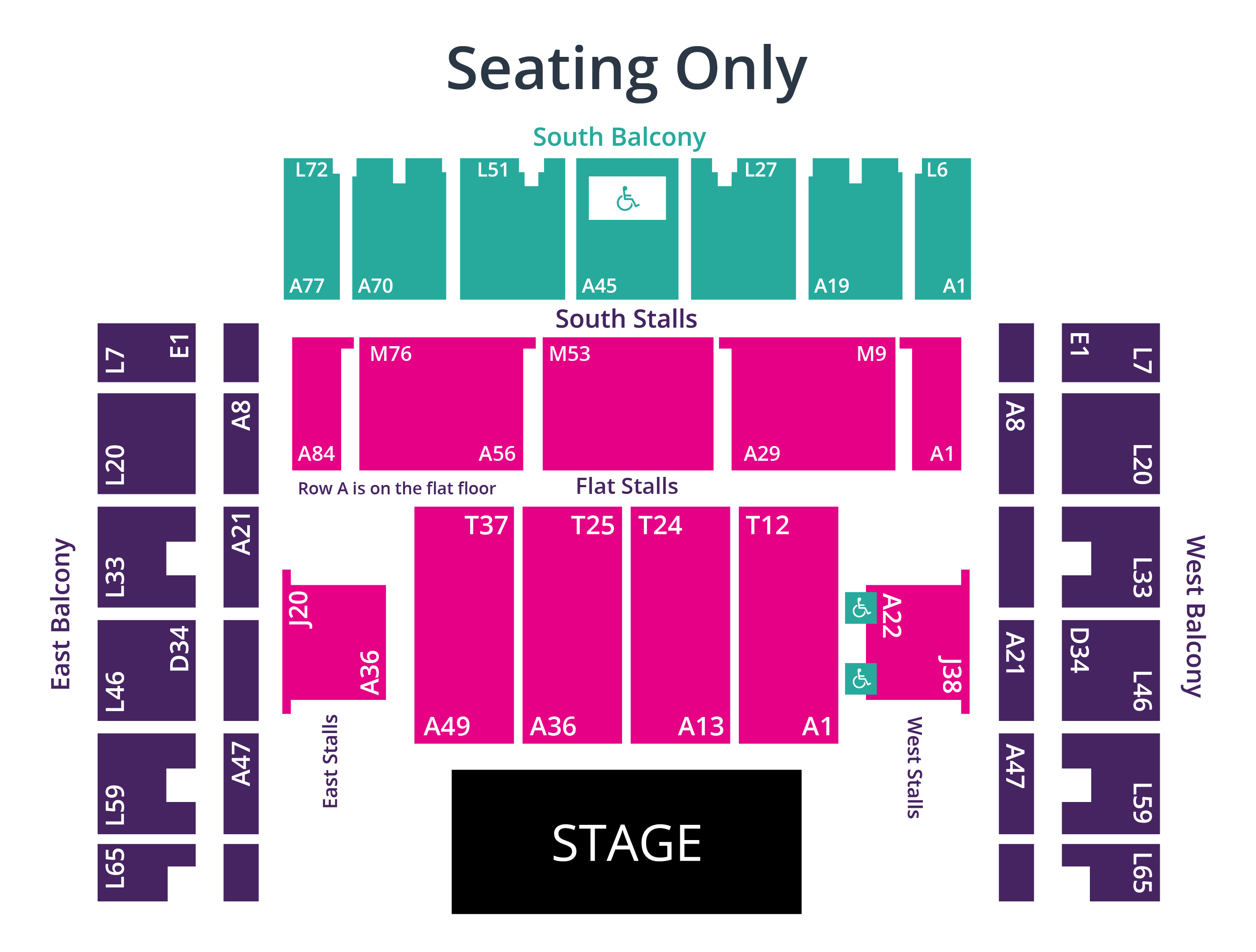 Brighton Centre Seating Only Seating Plan